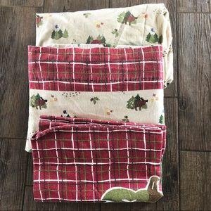 Twin Flannel Sheet Set Christmas Moose Cabin Trees